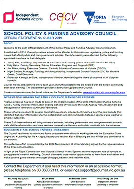 School Policy & Funding Advisory Council Official Statement (April 2020)