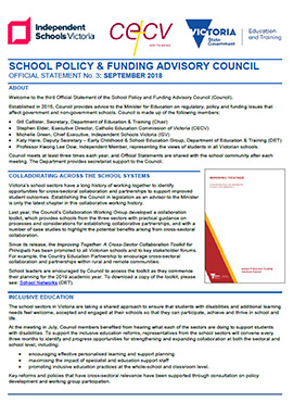 School Policy & Funding Advisory Council Official Statement (September 2018)
