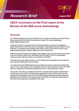 CECV comments on the Final report of the Review of the SES score methodology